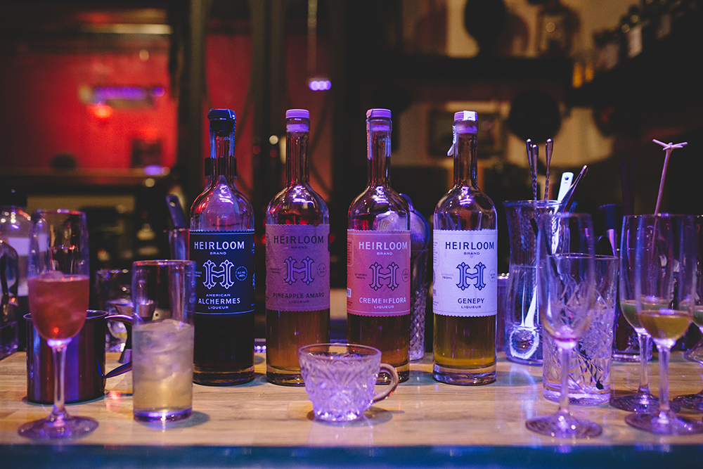 A collection of the Heirloom Liquors available at Lawless Distilling // Photo by Sam Ziegler
