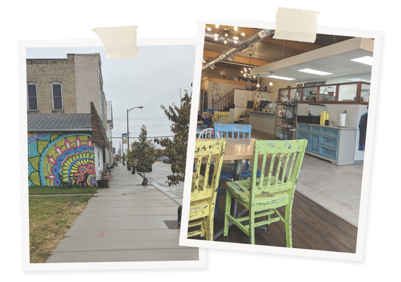 Left: 2nd Street South, Hallock's main stretch. Right: Bean and Brush Creative Coffee // Photos by Ellen Burkhardt