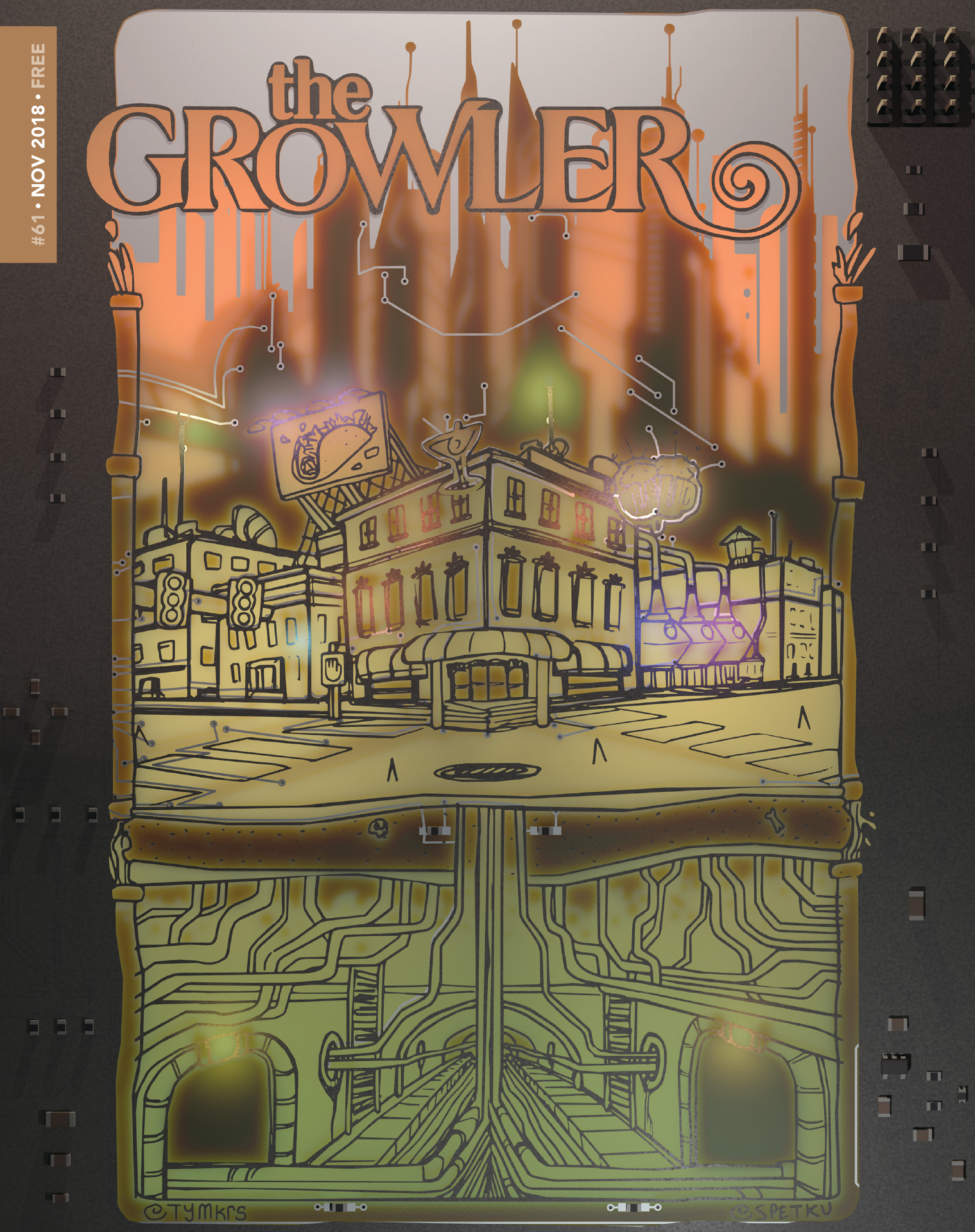 The Growler Issue 61 cover art // Art by Sarah Petkus, badge design by Tymkrs