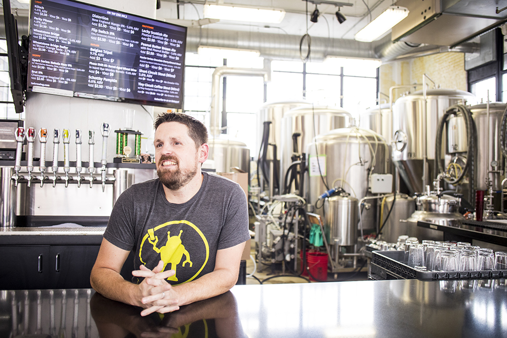 Tin Whiskers Brewing Company's Head Brewer Jeff Moriarty // Photo by Tj Turner