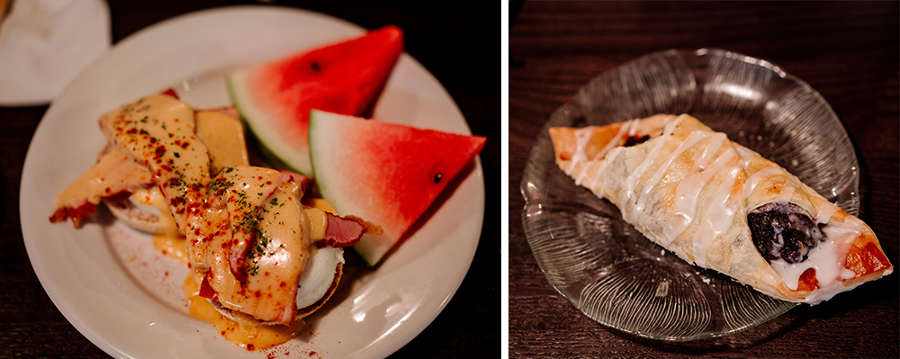 Left, the Eggs Benedict, right, the Blueberry Danish // Photos by Becca Dilley