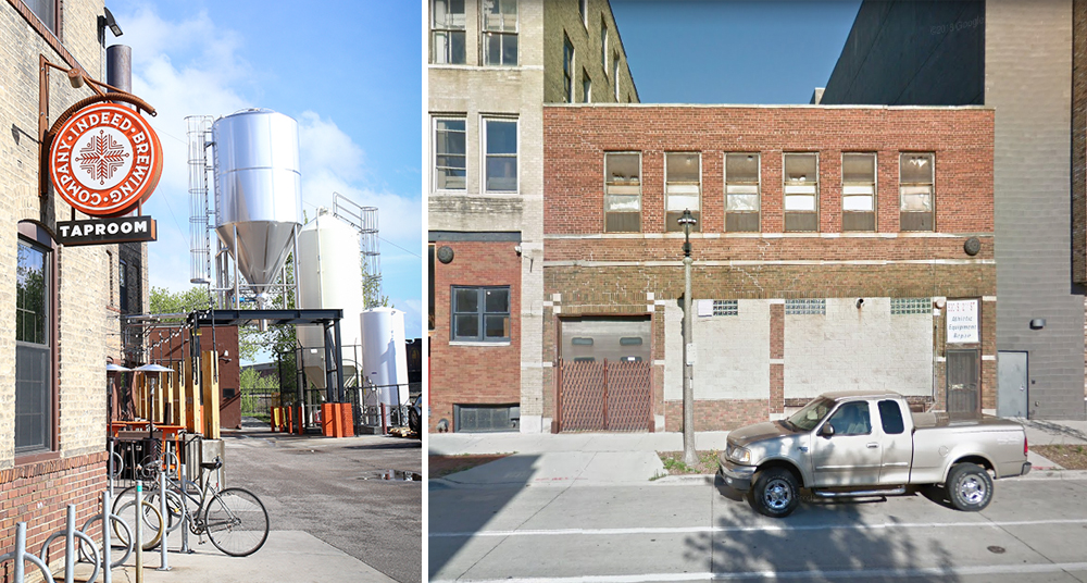 Indeed Brewing is building a second brewery and taproom in Milwaukee // Photo on left by Aaron Davidson, Photo on right via Google Maps