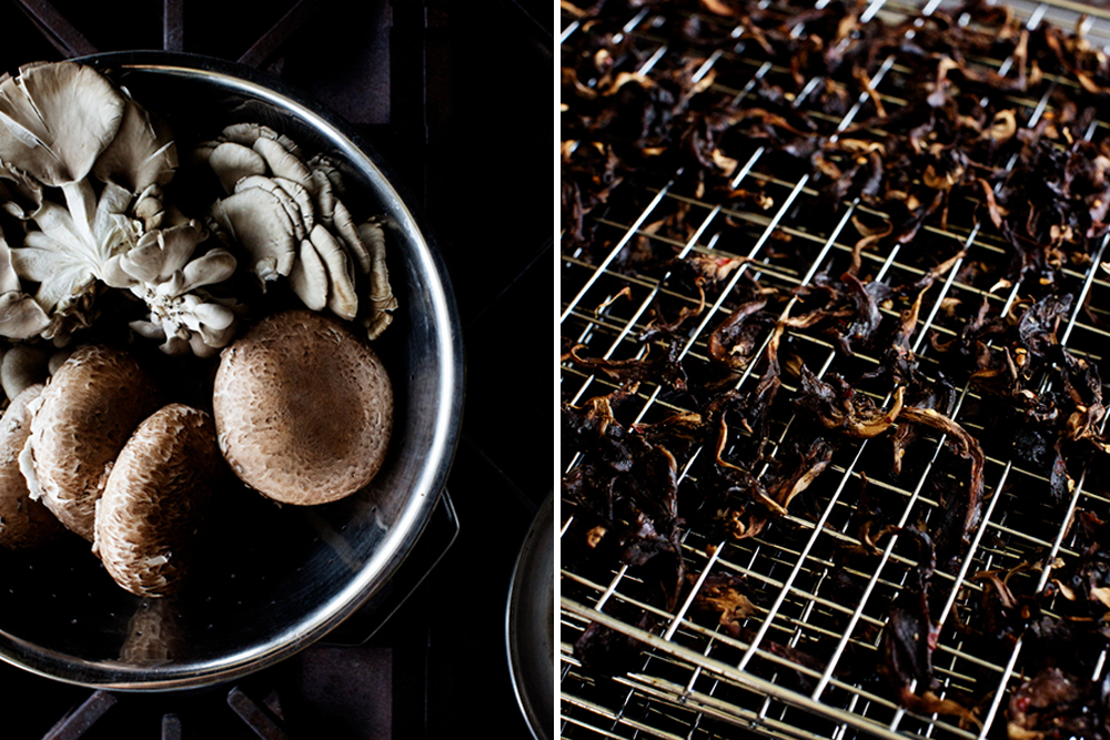 Fresh and cured mushrooms side by side // Photos courtesy ProCured Mushroom Jerky