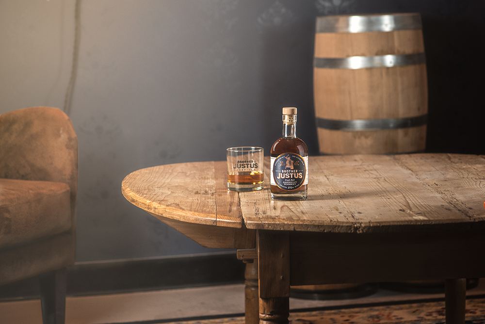 A bottle of Brother Justus' Single Malt Whiskey // Photo by Kevin Kramer