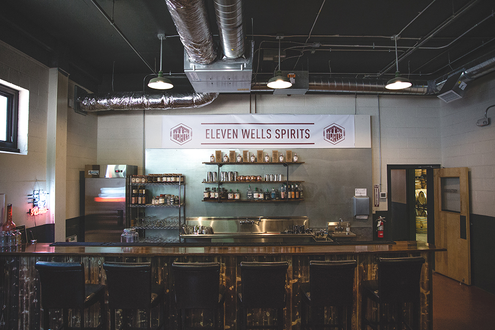 The bar of 11 Wells Spirits // Photo by Sam Ziegler