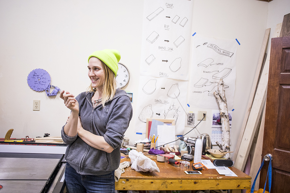 Jess Hirsch talks about the inception of Women's Woodshop // Photo by Tj Turner