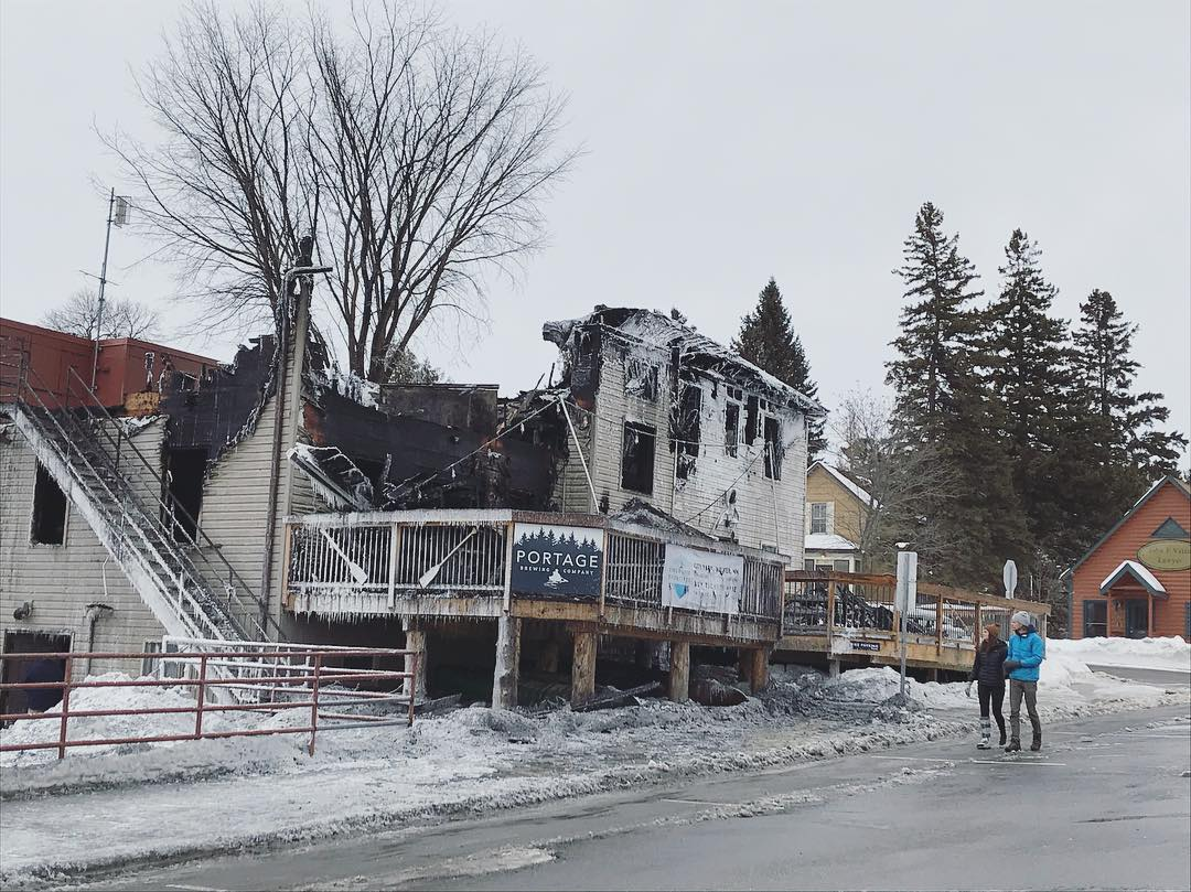 Portage Brewing Company in Walker, Minnesota, was destroyed by a fire on Sunday, January 6, 2019 // Photo via Portage Brewing Companys Facebook