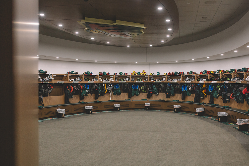 The Wild's locker room // Photo by Sam Ziegler