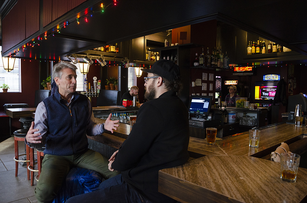 Rybak, left, making a point about the evolution of gathering spaces like breweries and coffeeshops - something he said he doesn't see happening with bars // Photo by Aaron Job