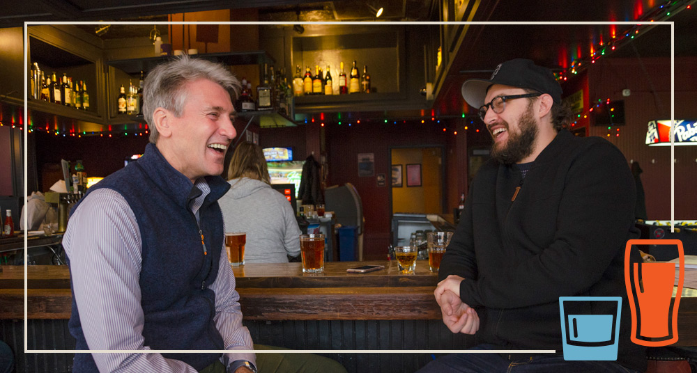 R.T. Rybak, left, with Taylor Carik, right, at Mortimer's // Photo by Aaron Job