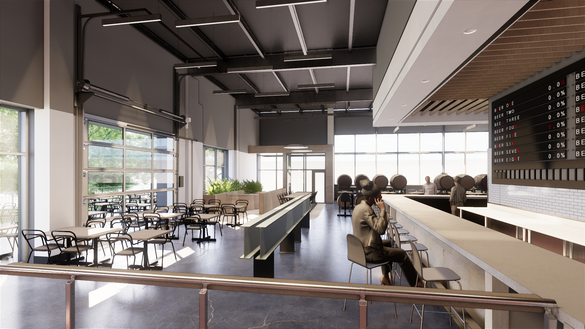 Interior rendering of ONE Fermentary and Taproom // Courtesy Wilkus Architects