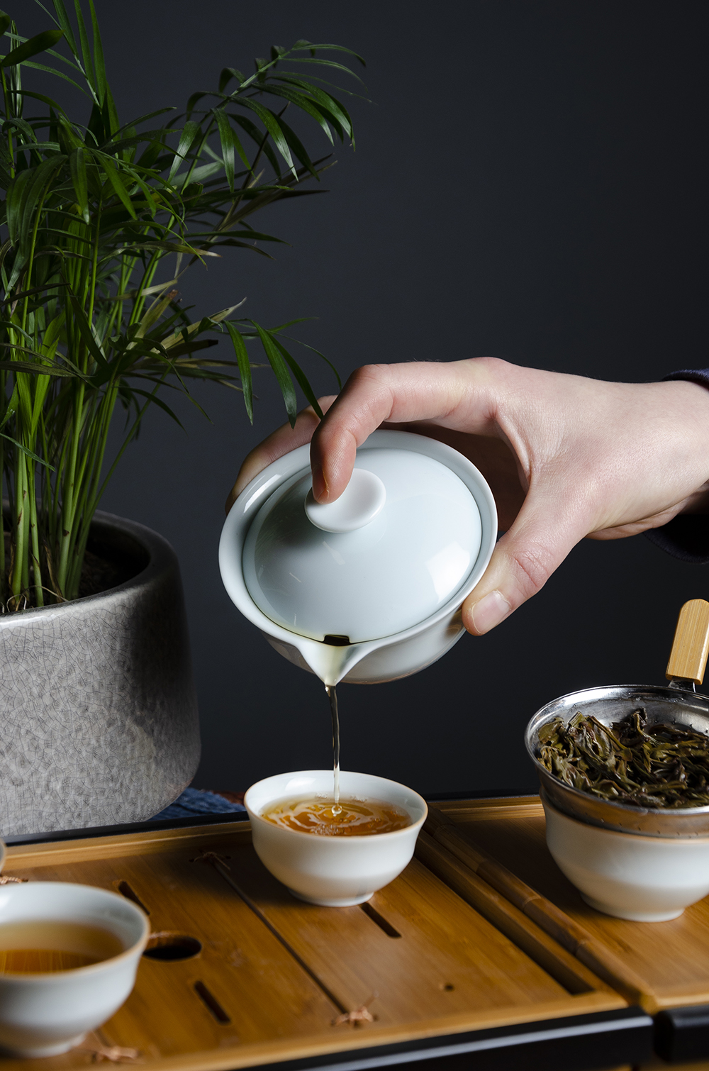 Verdant Tea's Laoshan Gongfu Black Tea being poured into a serving cup // Photo by Aaron Job