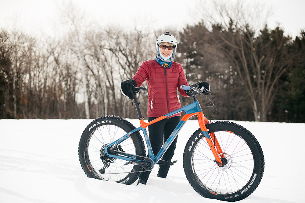 Woodbury with her fat bike // Photo by Nate Ryan