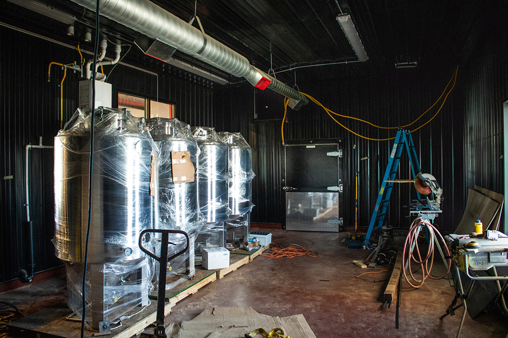 Fermentors awaiting installation at the new Bad Habit Brewing Company brewery and taproom in St. Joseph, Minnesota // Photo by Adam Rozanas, Ale Adventures