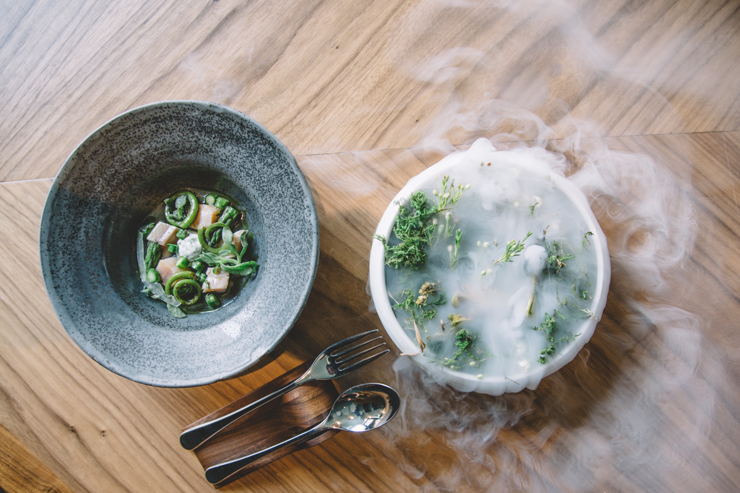 Smoked trout with fiddlehead ferns, asparagus, lemon verbena ice, and dill crème fraîche at Demi // Photo by Sam Ziegler