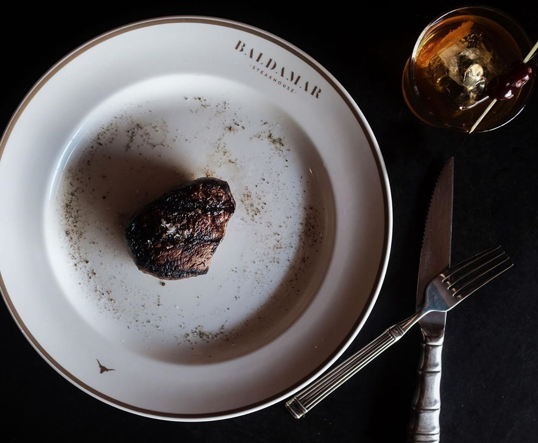 Steak at Baldamar Steakhouse // Photo via Baldamar's Instagram