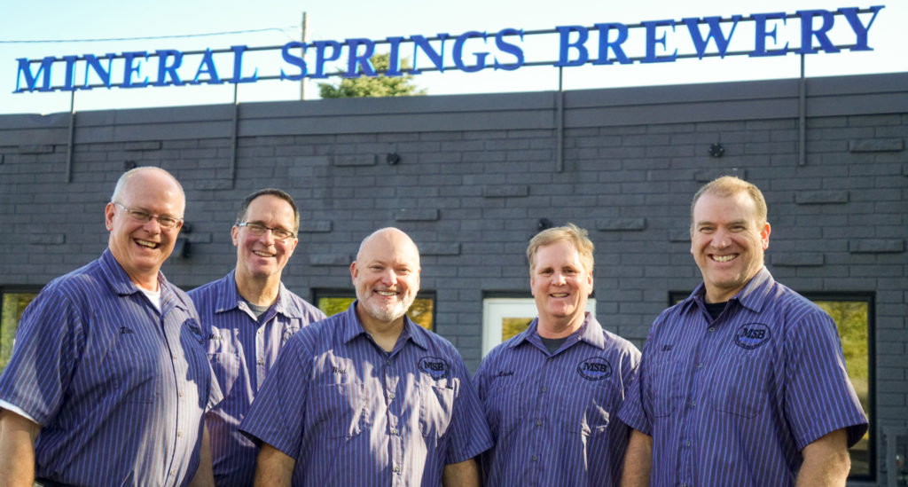 L to R: Tim Pelton, Mark Sebring, Rod Baker, Mark Knutson, and Bill Cronin are opening the doors to Mineral Springs Brewery on November 8, 2019 in Owatonna // Photo by James Figy