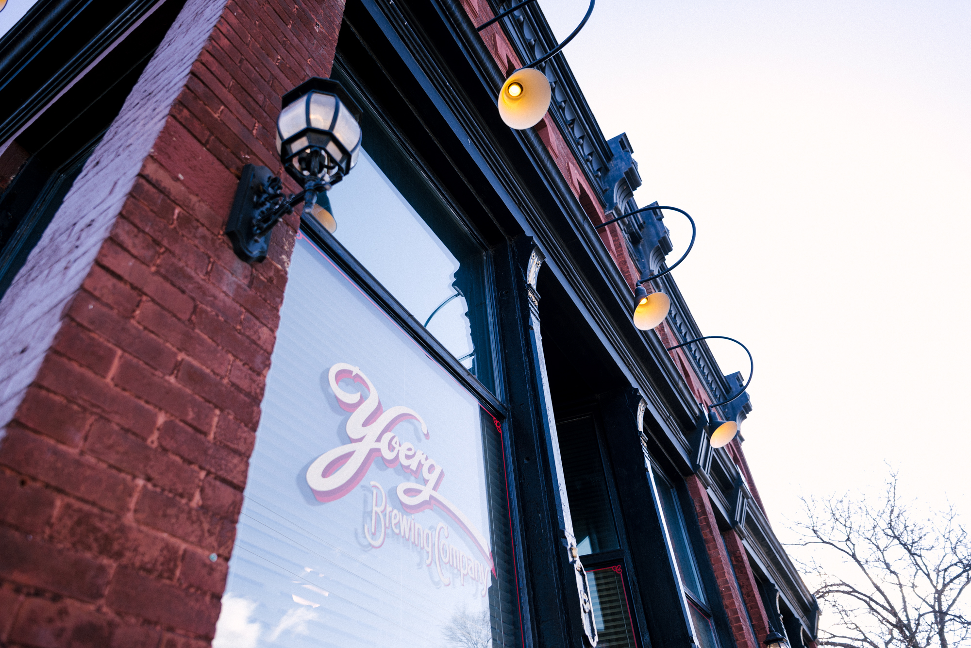 Hand lettering on the Yoerg brewpub in the Schoch Building at 378 Maria Avenue