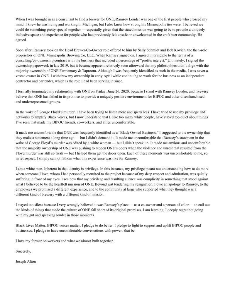 Joseph Alton's June 27, 2020, statement on his resignation from ONE Fermentary & Taproom