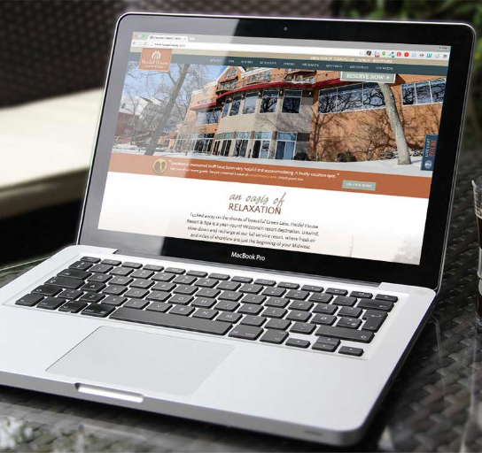 Heidel House Resort & Spa Website on Screen