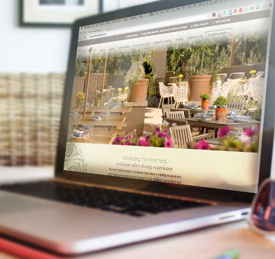 The Front Yard Restaurant Website On Laptop