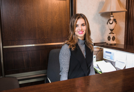 woman working at front desk