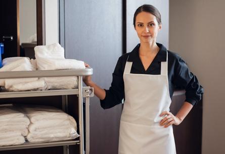 hotel employee working