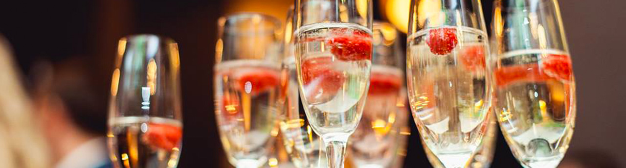 Raspberries in Champagne flutes