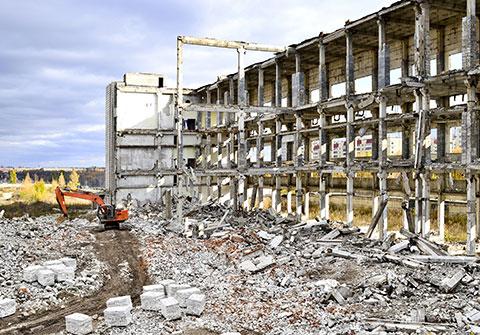 Excavator on Demolition Site
