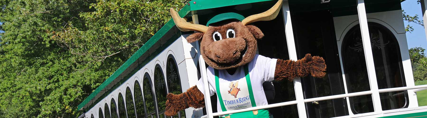 Timber Ridge Bruce the Moose on Trolley