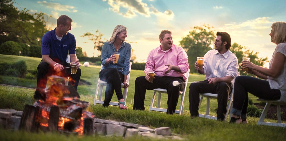 group around campfire