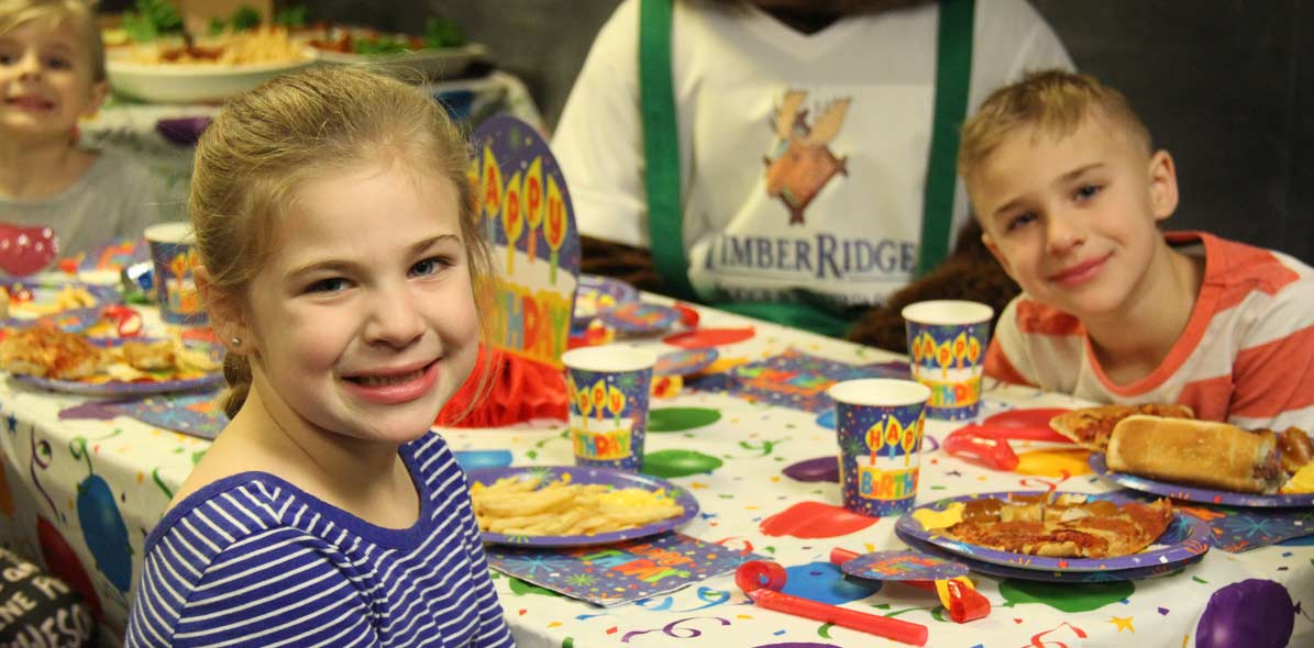 Kids enjoying birthday parties with special snacks  at Timber Ridge Lodge & Waterpark