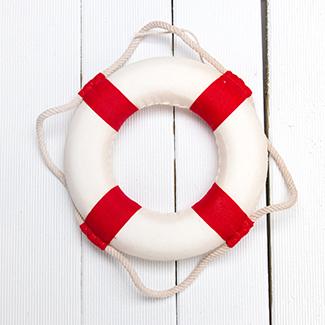 White and red rescue swim tube at Timber Ridge Lodge