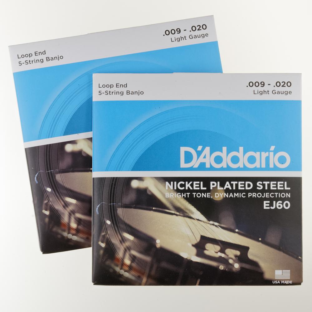 D'Addario Nickel 5-string Banjo Strings, EJ60, Light (.009 - .020)