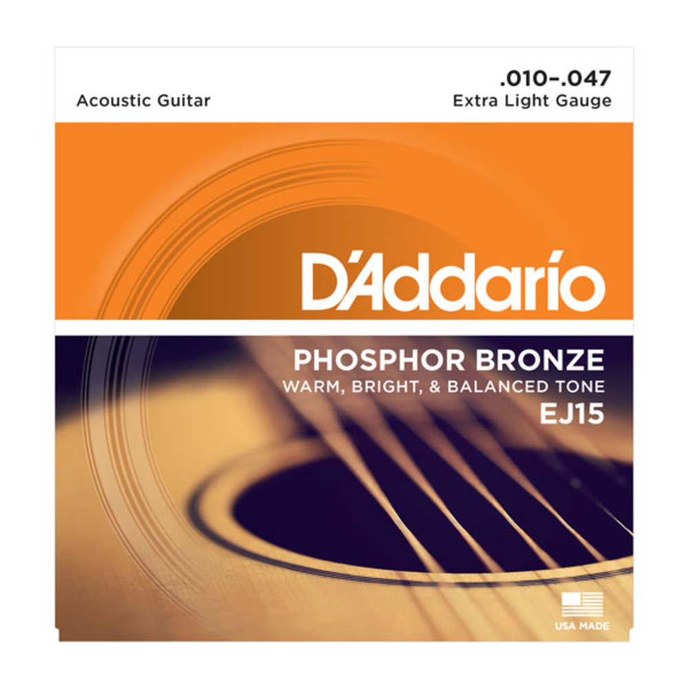 D'addario EJ15 Phosphor Bronze Extra Light Gauge Acoustic Guitar Strings