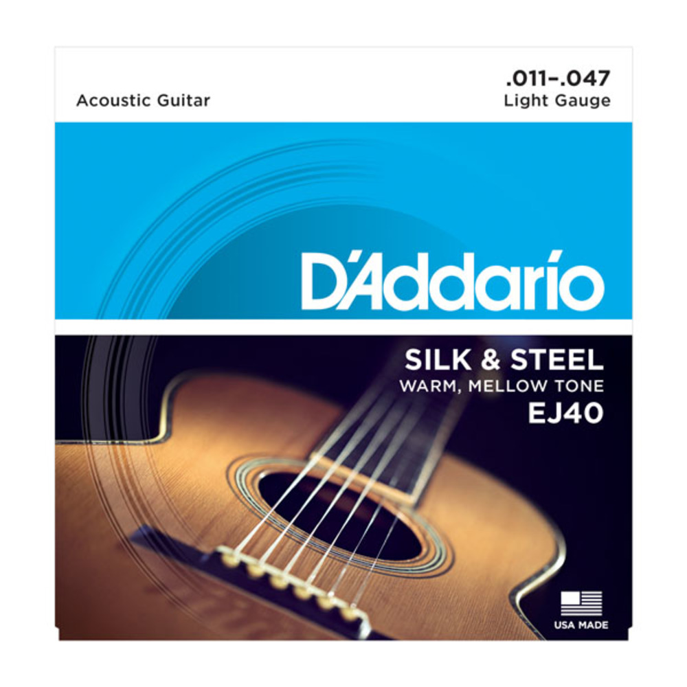 D'Addario EJ40 Silk & Steel Light Gauge Ball End Folk Acoustic Guitar Strings