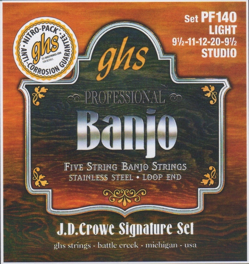 GHS PF140 J.D. Crowe Signature Set Light Gauge Stainless Steel Five-String Banjo Strings
