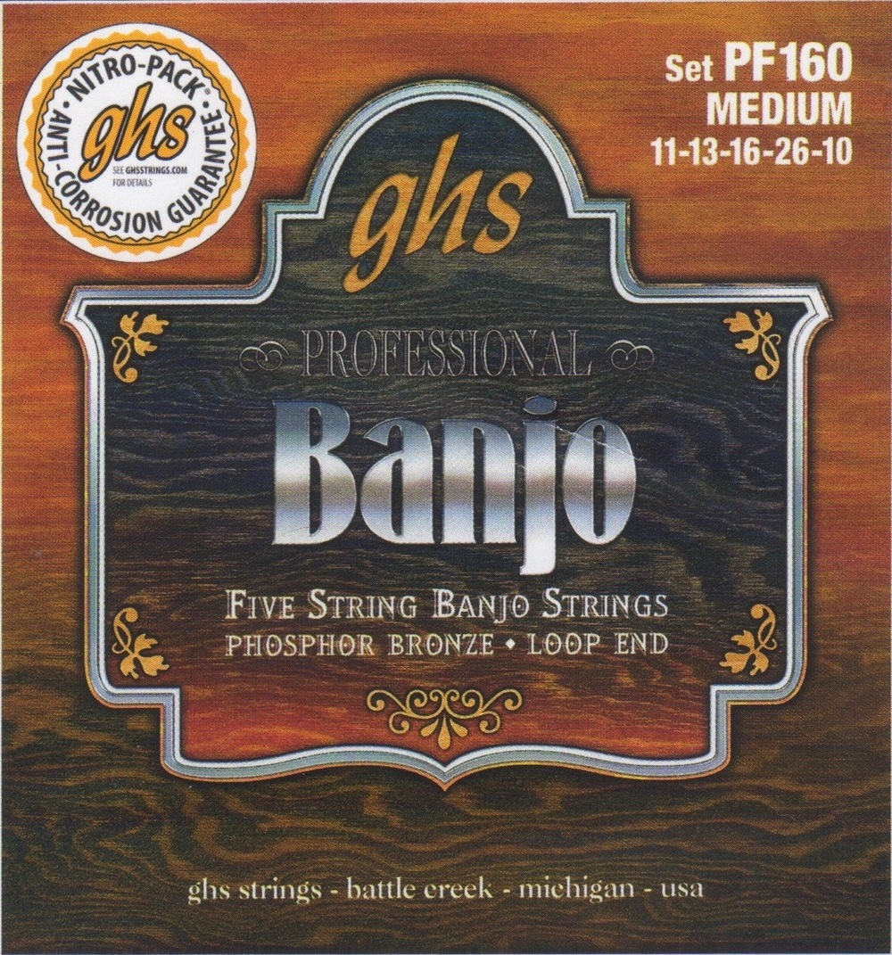 GHS PF160 Phosphor Bronze Medium Gauge Five-String Banjo Strings
