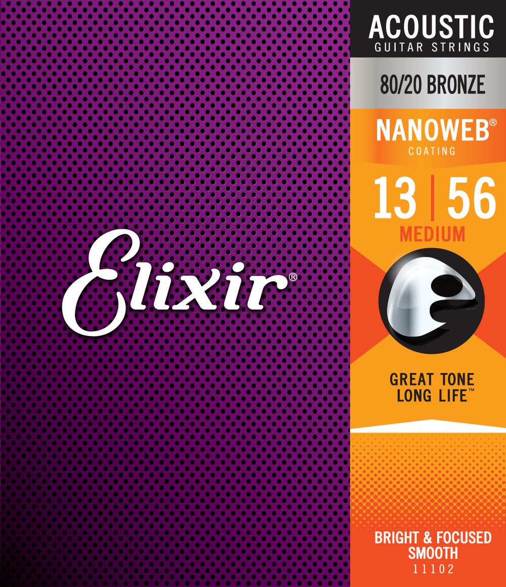 Elixir 11102 80/20 Bronze Nanoweb Medium Gauge Acoustic Guitar Strings