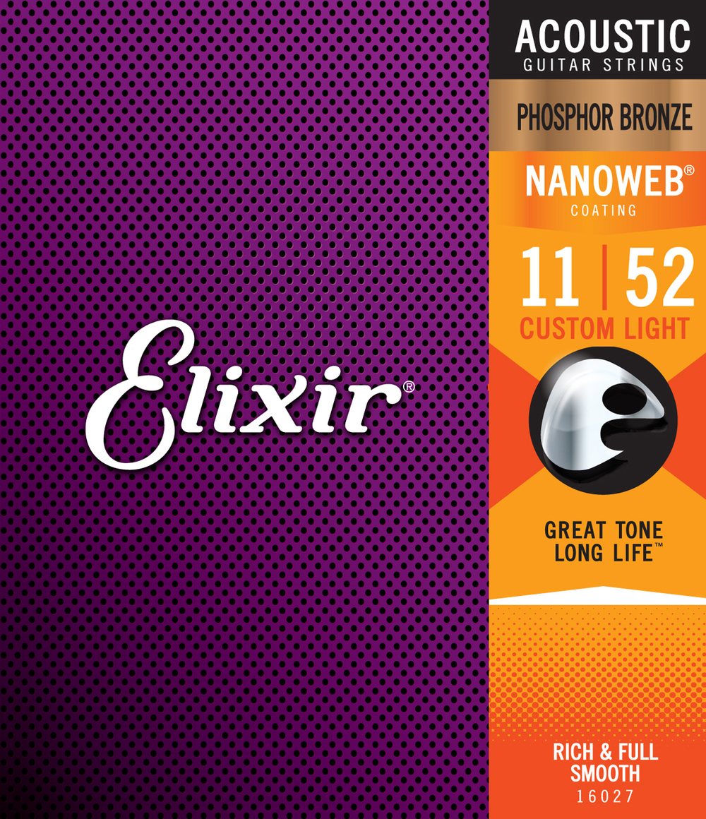 Elixir 16027 Phosphor Bronze Nanoweb Custom Light Gauge Acoustic Guitar Strings