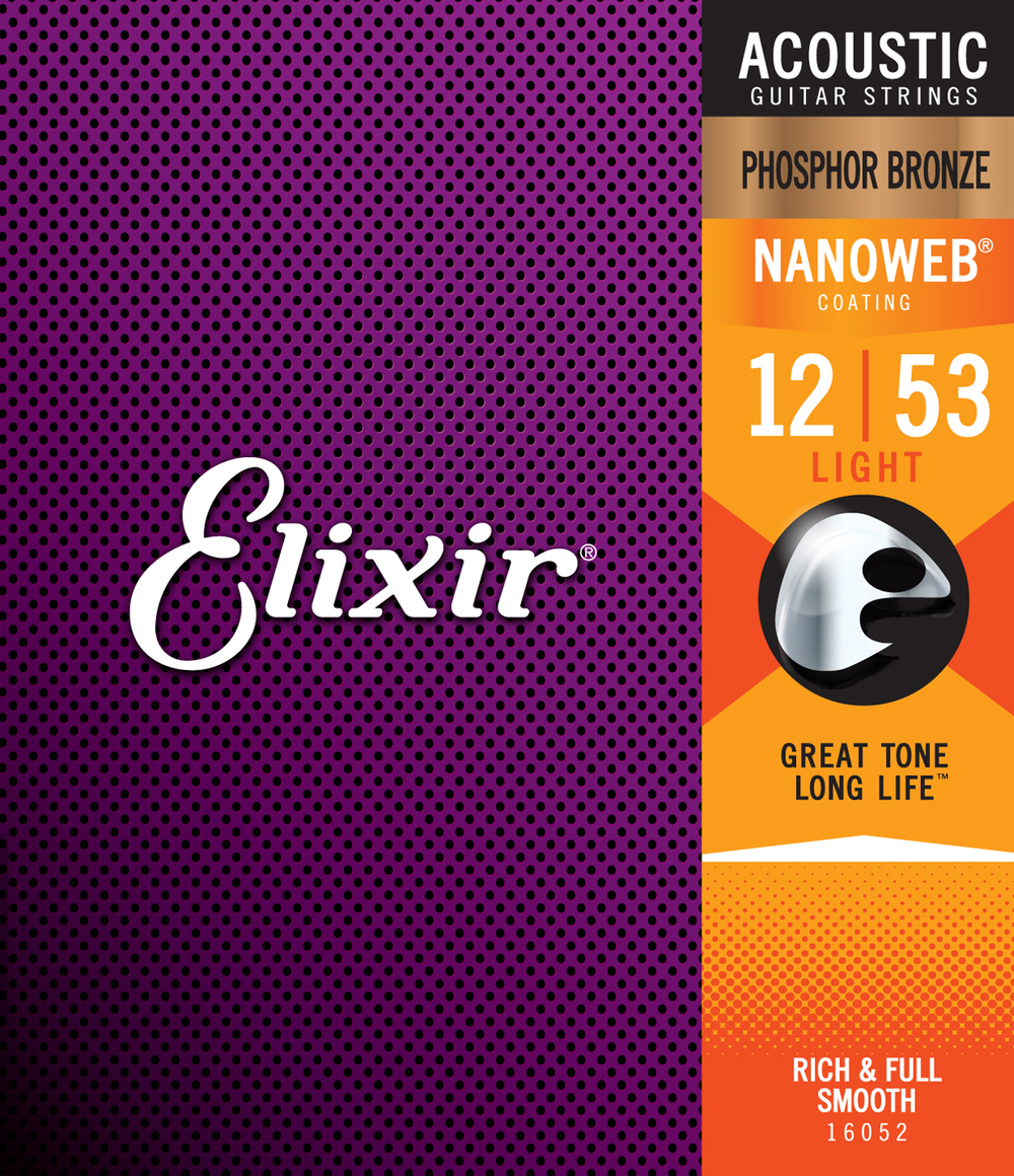 Elixir 16052 Phosphor Bronze Nanoweb Light Gauge Acoustic Guitar Strings