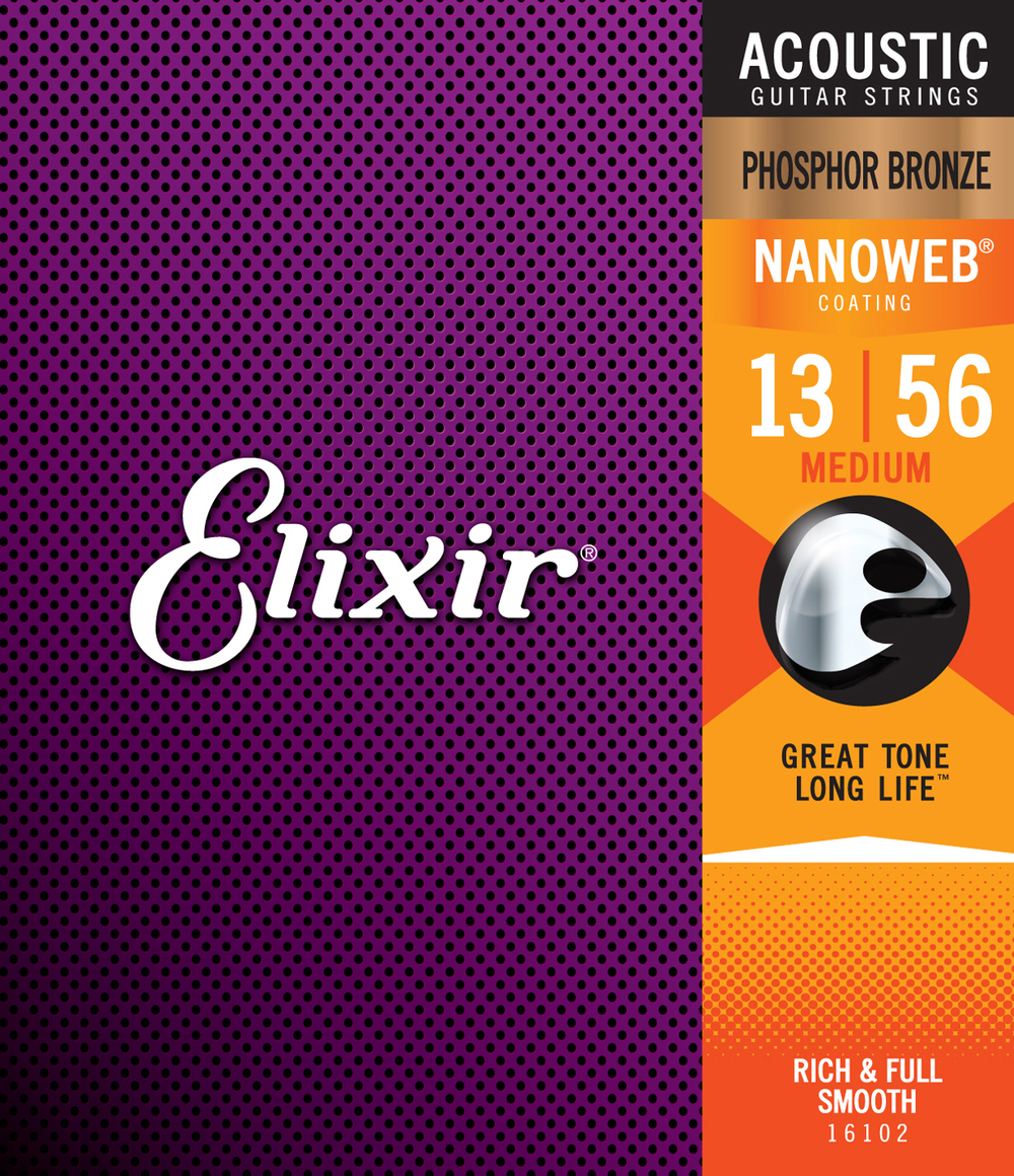 Elixir 16102 Phosphor Bronze Nanoweb Medium Gauge Acoustic Guitar Strings