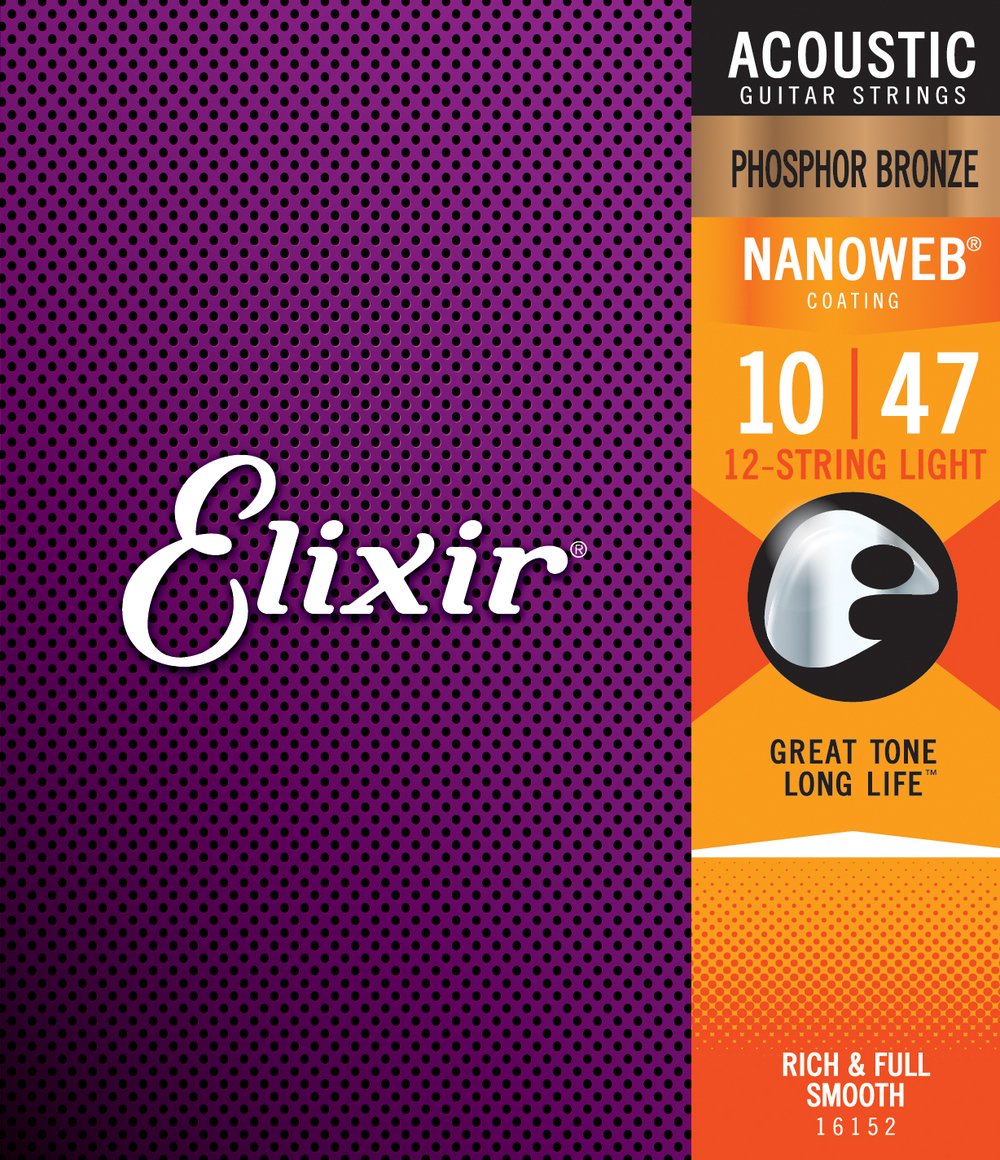 Elixir 16152 Phosphor Bronze Nanoweb Light Gauge 12-String Acoustic Guitar Strings