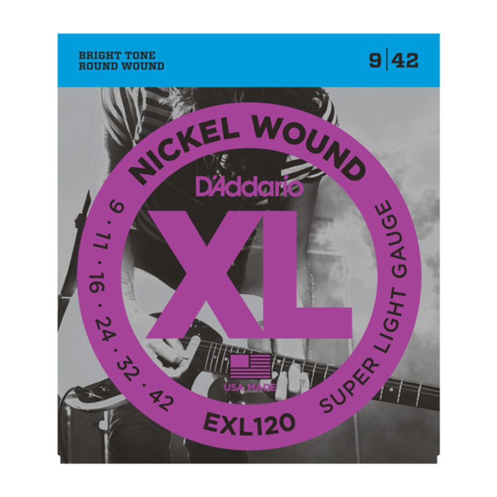 D'Addario EXL120 Nickel Wound Super Light Gauge Electric Guitar Strings