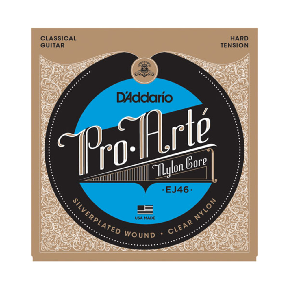 D'Addario EJ46 SIlver Plated Wound Clear Trebles Hard Tension Classical Acoustic Guitar Strings