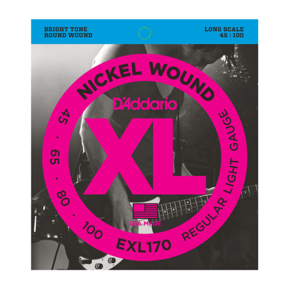 D'Addario EXL170 Nickel Wound Regular Light Gauge Long Scale Electric Bass Strings