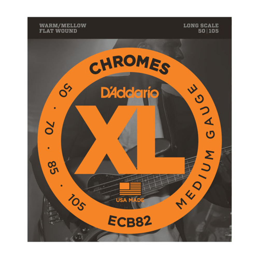 D'Addario ECB82 Chromes Flatwound Medium Gauge Long Scale Electric Bass Strings