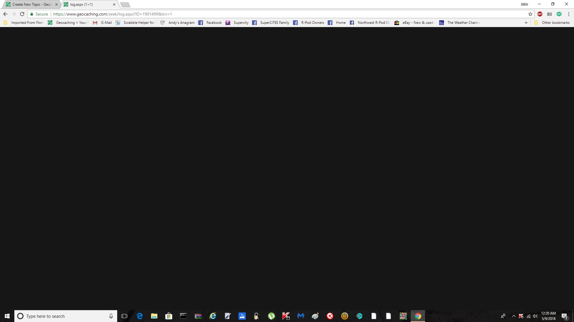 Black page when attempting a log - Website - Geocaching Forums