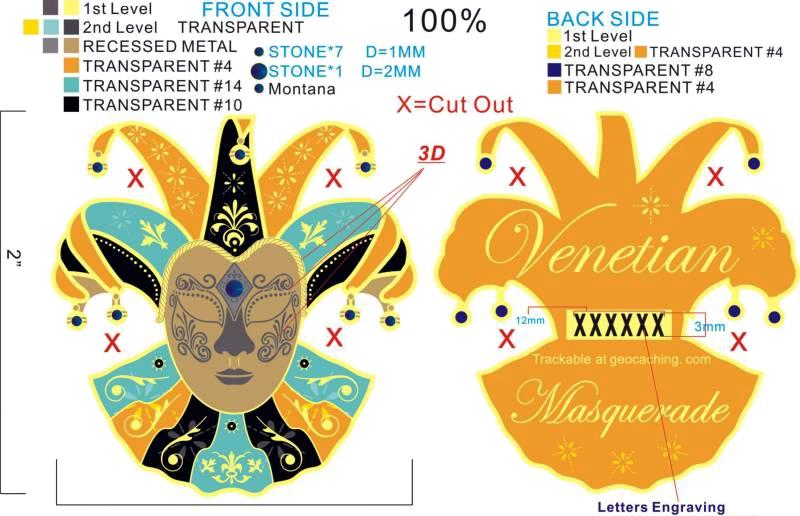 Final Artwork of the Mardi Gras Masquerade Geocoin