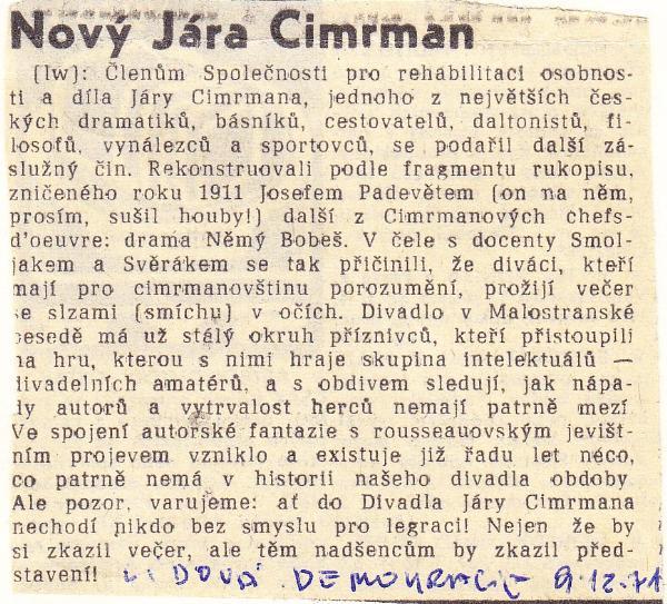 Lidová demkracie výstrižek 9.12.1971